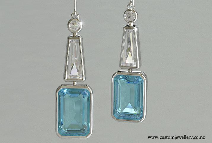 Aquamarine Emerald Cut Bezel Set Diamond Pendant Earrings