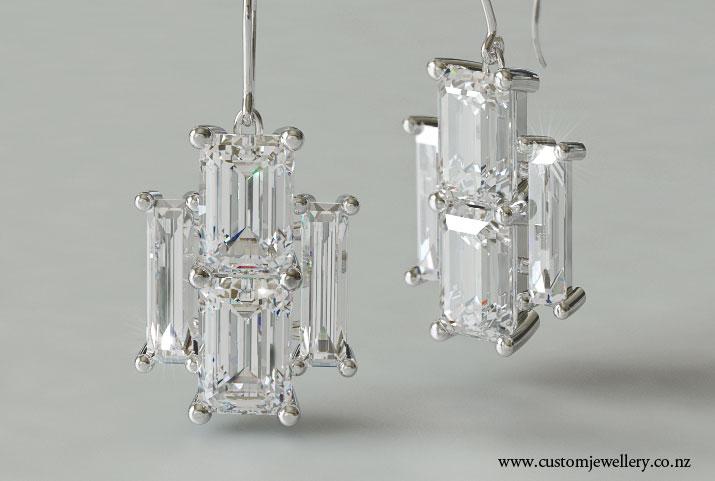 Art Deco Emerald And Baguette Cut Diamond Earrings New Zealand