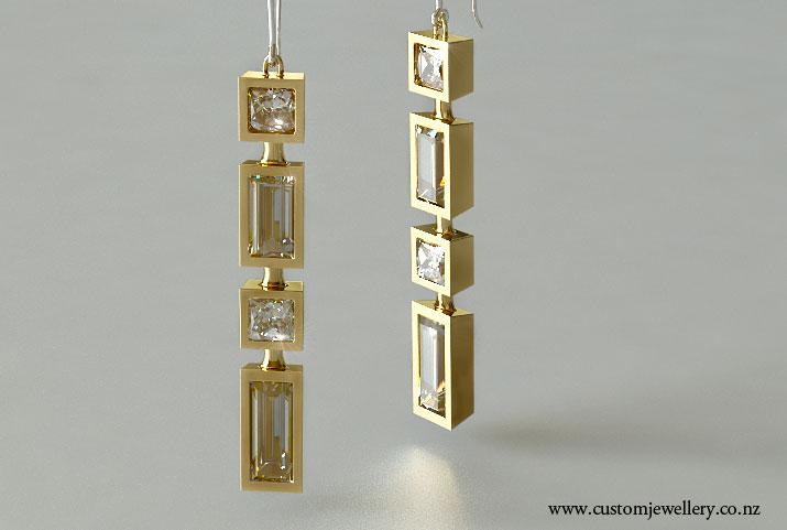 Bezel Set Princess Cut Diamond And Baguette Yellow Gold Art Deco Earrings
