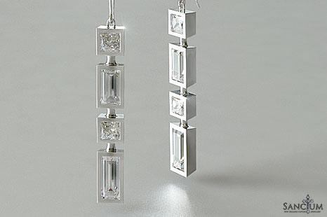 Princess Diamond and Baguette Diamond Bezel Set Earrings ...