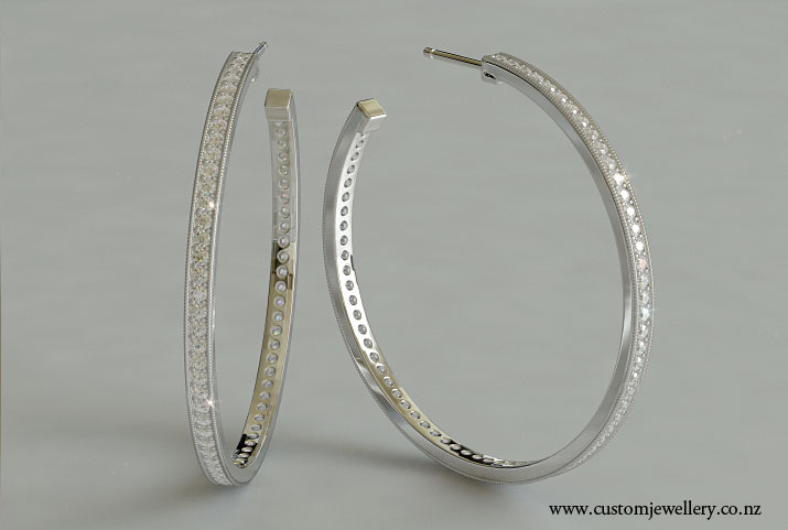 Diamond Hoop Earrings Bead Set with Milgrain New Zealand