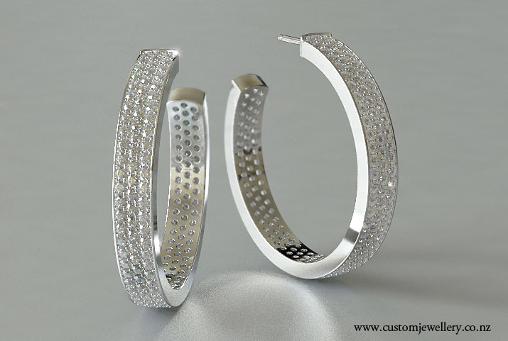 Diamond Pave Hoop Earrings 7ctw in White Gold or Platinum New Zealand