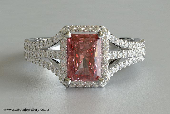 Radiant fancy pink diamond engagement ring triple split shank halo