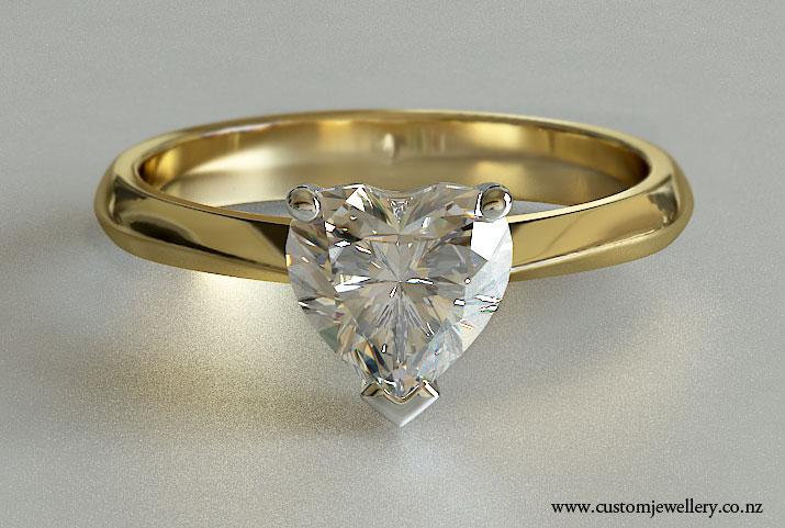 Heart Diamond Soliraire Yellow Gold Engagement Ring Knife Edge