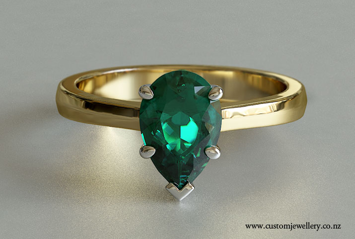 emerald pear cut solitaire engagement ring knife edge