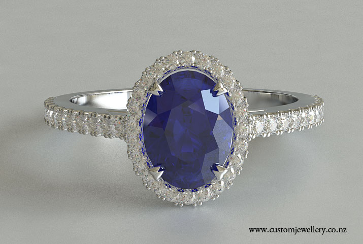 Platinum Oval Cut Sapphire Solitaire Engagement Ring