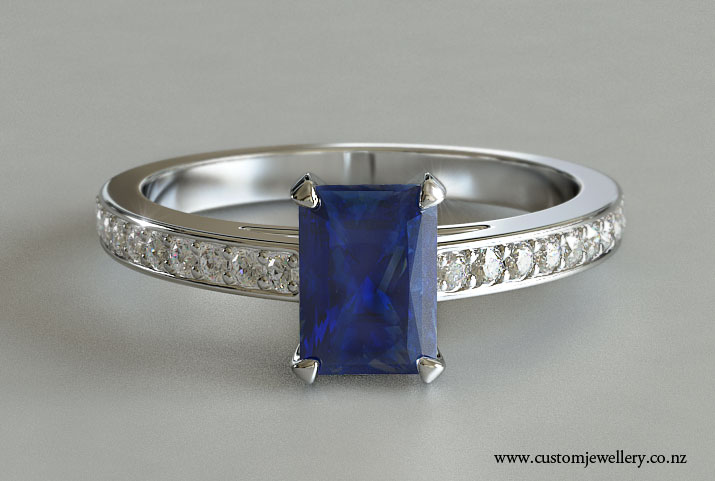 Radiant Cut Blue Sapphire Solitaire Engagement Ring Bead