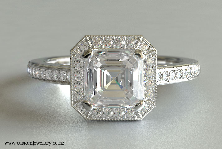 Asscher diamond engagement rings