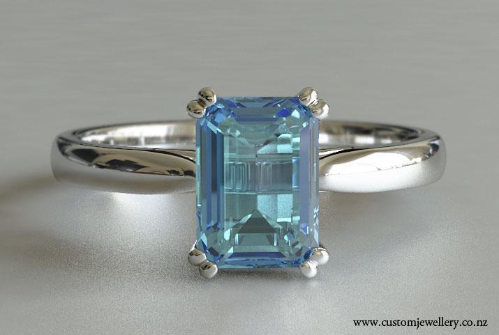 emerald cut aquamarine solitaire engagement ring new zealand