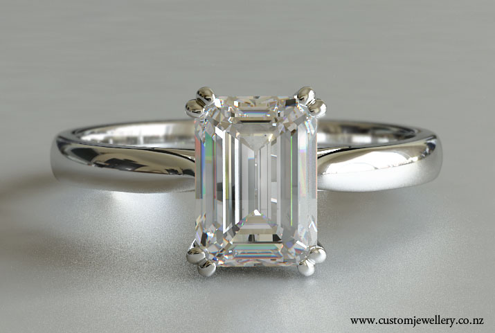 Emerald Cut Solitaire Diamond Engagement Ring With Split