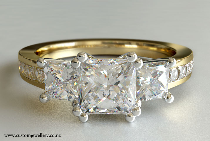 ... stone Princess Cut Diamond Engagement Ring in 18kt Yellow Gold