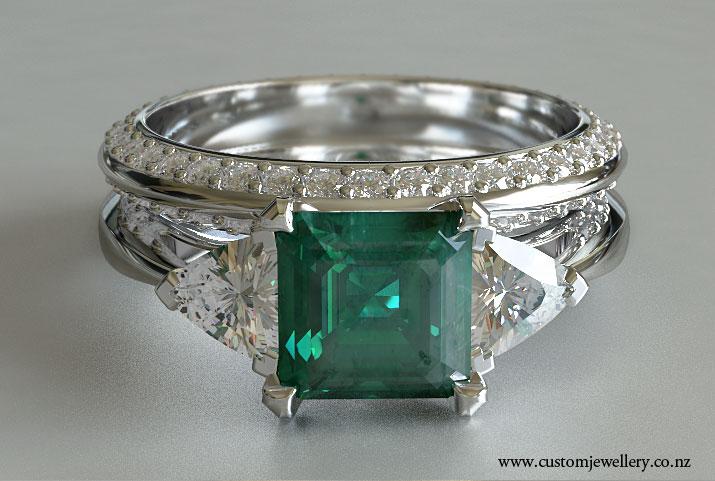 Square Emerald Emerald And Trillion Diamond Engagement