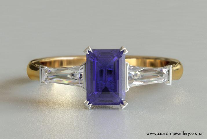 Emerald Tanzanite Baguette Diamond Engagement Ring New Zealand