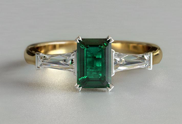 Yellow Gold Emerald 3 Stone Diamond Engagement Ring New Zealand