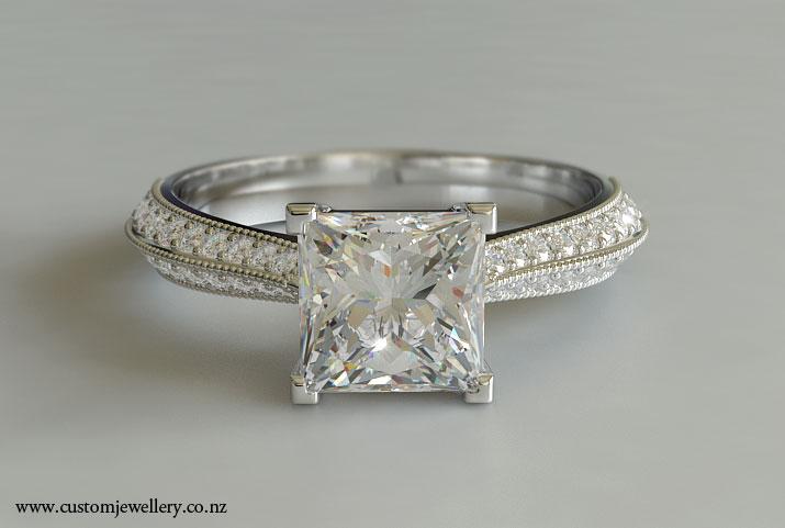 Princess Cut Diamond Engagement Ring Knife edge New Zealand