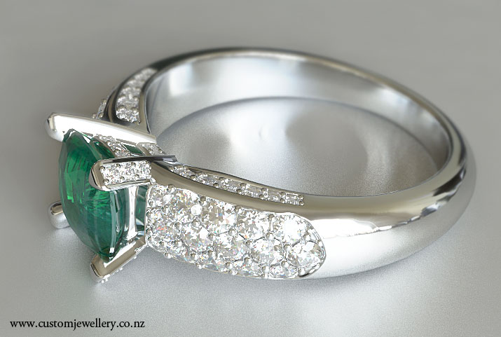 cusion cut emerald engagement ring pave shoulders new zealand