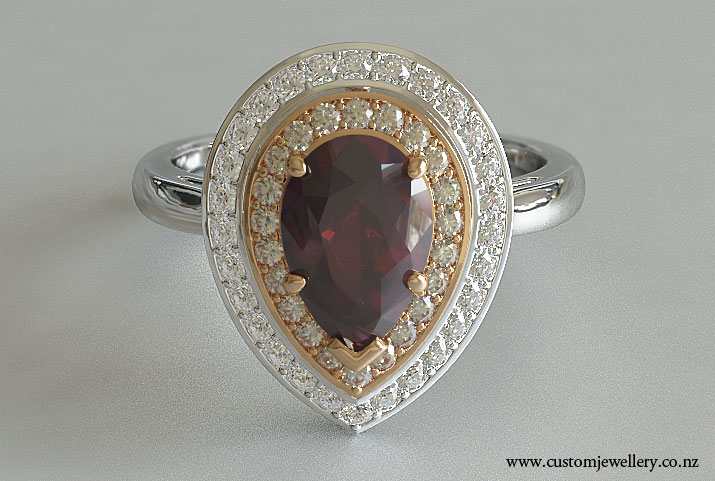 Pear Ruby Diamond Engagement Ring Rose Gold Halo New Zealand
