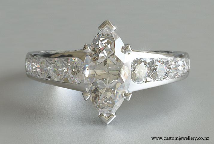 Marquise Diamond Engagement Ring Tapered Sidestones New Zealand