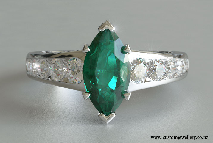 marquise emerald engagement ring tapered sidestones new