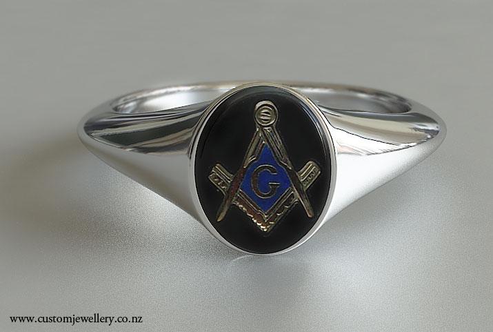Mens Oval Onyx Masonic Ring New Zealand
