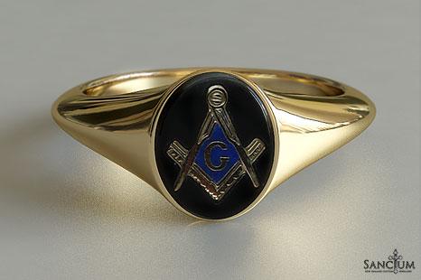 Mens Oval Onyx Masonic Ring Yellow Gold New Zealand