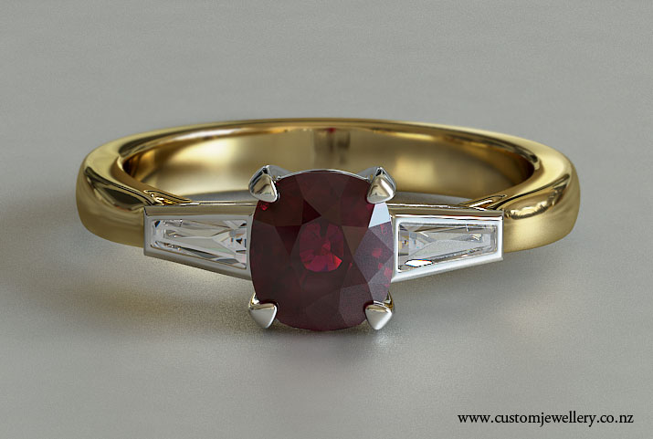 Cushion Cut Ruby Tapered Baguette Three Stone Engagement