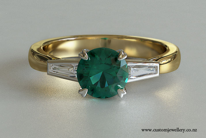 Yellow Gold Vintage Style Round Emerald And Baguette Side