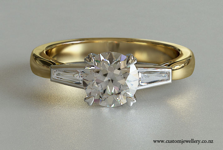 Vintage Style Round Brilliant Diamond Engagement Ring With Baguette Side Diamonds Three Stone Yellow Gold
