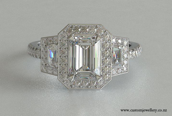 Three Stone Emerald And Trapezoid Halo Style Engagement