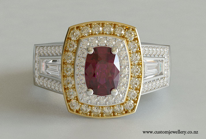 Cushion Cut Ruby And Baguette 3 Stone Double Halo