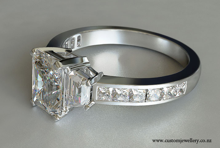 Radiant Cut Diamond And Trapezoid Three Stone Engagement