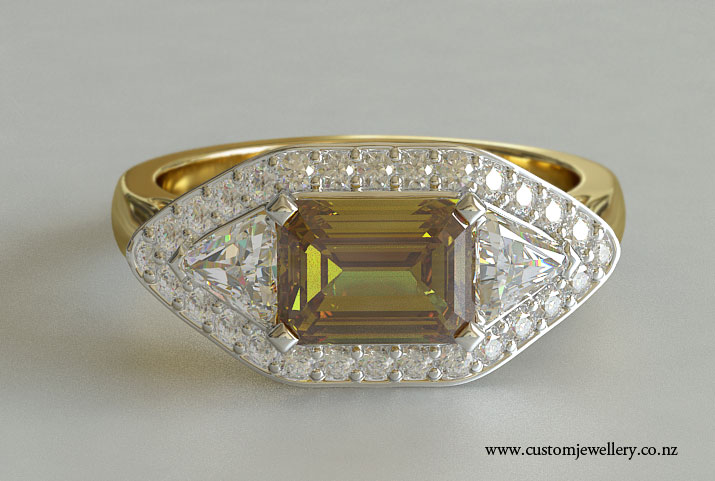white gold and yellow gold emerald cut fancy yellow