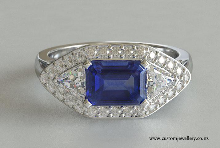 white gold or platinum emerald cut sapphire engagement
