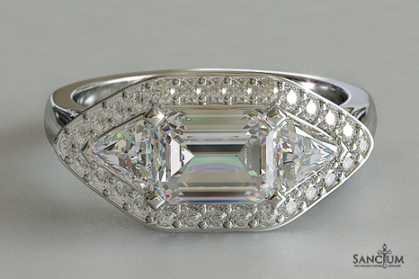emerald cut with trillion sides halo three