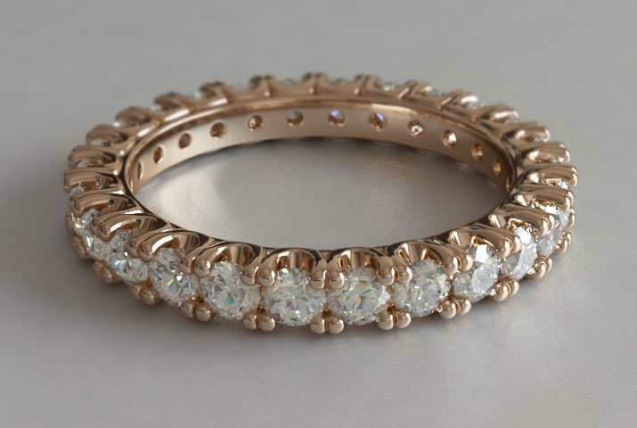 Custom Design Round Cut Diamond Rose Gold Eternity Ring New Zealand