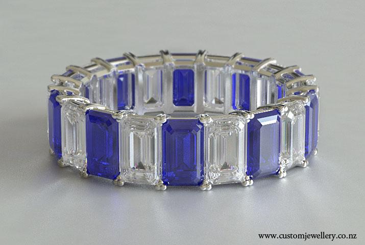 Emerald Cut Diamond And Sapphire Wedding Band Or Eternity