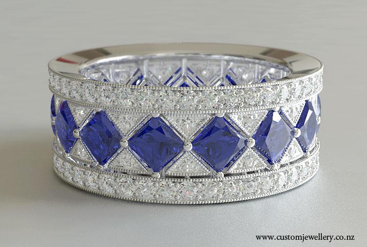 Sapphire Vintage Art Deco Style Wedding Band Princess Cut New Zealand